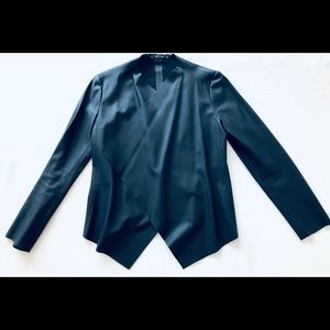Navy Faux leather and suede(interior) shawl jacket